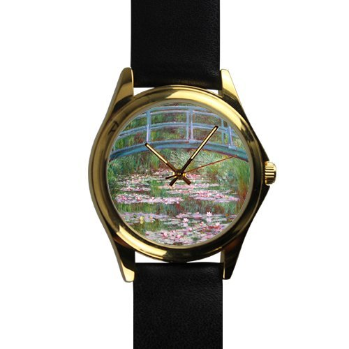 (Christmas Gifts For Friends/Sisters Monet Bridge Over Water Lilies Gold-tone Round Metal Watch)