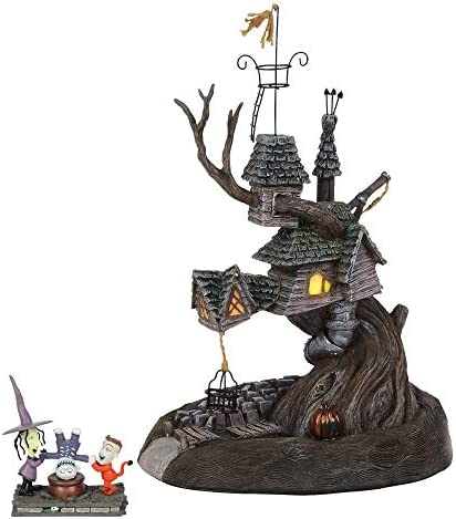 Department56 Nightmare Before Christmas Village Lock Shock and Barrel Treehouse Lit Building and Figurine, 10.7 , Multicolor
