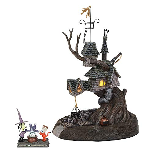 Department56 Nightmare Before Christmas Village Lock Shock and Barrel Treehouse Lit and Building and Figurine 10.7