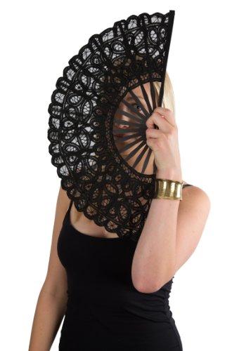 Rennaisance Lace Hand Fan, Bamboo Stem, Black Large (Hand Stem)