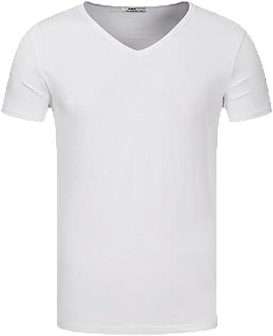 Camiseta Básica De Manga Corta para Hombre Camiseta Vintage Media Manga De Manga Corta Blanca con Cuello En V para Hombres: Amazon.es: Ropa y accesorios