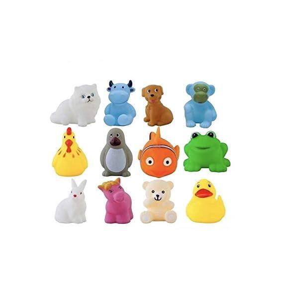 Heckle n Jeckles 12 Piece Toddler Baby Bathtub Bathing Chu Chu Squeeze Bath Toys, Animal Shape