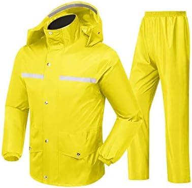 分割レインコート- 防水ジャケット通気性フード付きレインコートレインパンツスーツ男性と女性の屋外作業狩猟乗馬 (Color : Yellow, Size : XXXL)