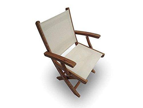 (Royal Teak Collection SMCW Sailmate Teak Sling Folding Arm Chair, White, 24-Inch)