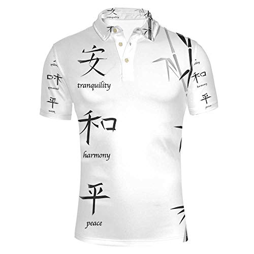 Bamboo House Decor Stylish Polo Shirt,Illustration of Chinese Symbols for Tranquility Harmony Peace with Bamboo Pattern for Men,M ()