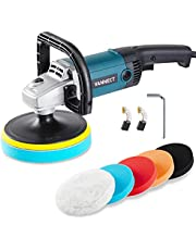 Buffer Polisher, 1200W 7-inch Car Polisher with 6 Variable Speed, 5 Foam Pads, Detachable Handle and Safety Lock Car Buffer Polisher Ideal for Car Sanding, Polishing, Waxing (Upgraded)