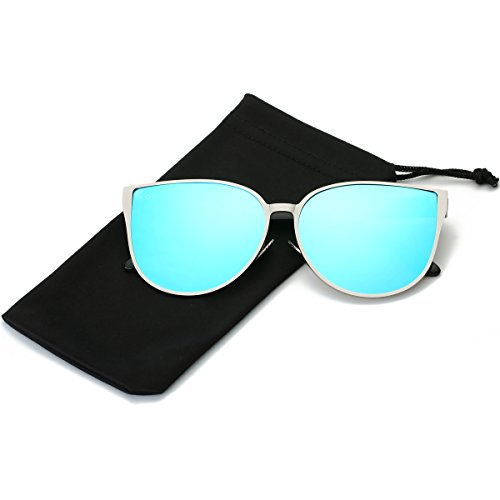 LKEYE Oversized Cat eye Sunglasses Metal Frame Mirror Lens Eyewear LK1704 Silver Frame/Blue - Sunglasses Face For Men Fat