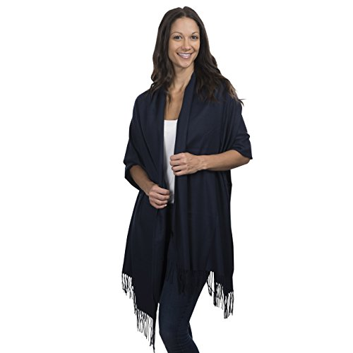 - Cashmere & Class Large Soft Cashmere Scarf Wrap – Womens Winter Shawl + Gift Box (navy)
