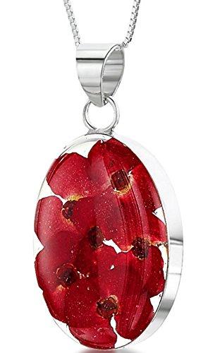 Plata Joyas con flores Reales: collar, colgante & pendientes–Amapolas rojas–ovalada–En Caja De Regalo