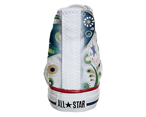 Converse All Star Hi Personnalisé et Imprimés chaussures coutume, Sneaker Unisex (produit Italien artisanal) White Green Paisley 1