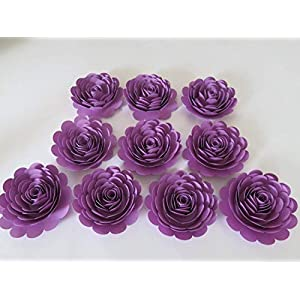 Pretty Purple Roses Set 10 Artificial Paper Flowers 3 Inch Blossoms Girl Tea Party Table Centerpiece Twilight Birthday Theme Night Sky Bedroom Decor