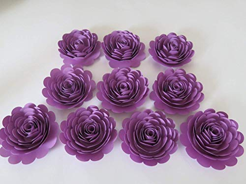 Pretty Purple Roses Set, 10 Artificial Paper Flowers, 3 Inch Blossoms, Girl Tea Party Table Centerpiece, Twilight Birthday Theme, Night Sky Bedroom Decor ()