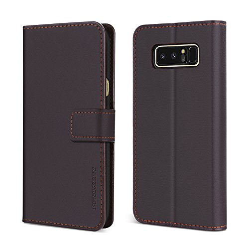 BENTOBEN Galaxy Note 8 Case,Samsung Galaxy Note 8 Wallet Case, Flip Kickstand Genuine Leather Credit Card Holder Cash Pocket Protective Cell Phone Case for Samsung Galaxy Note 8, Brown