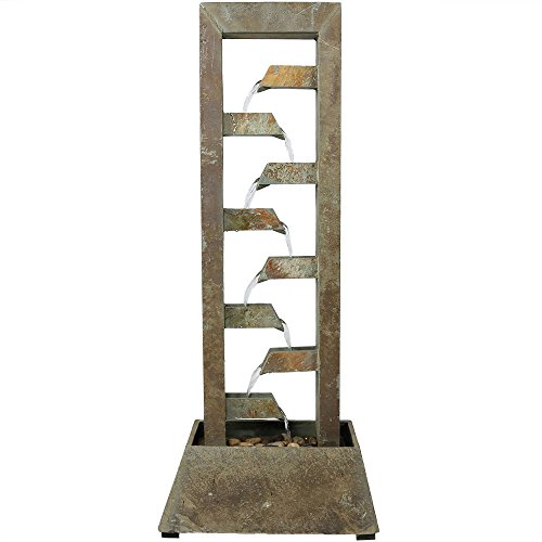 (Sunnydaze Stacked Slate Outdoor Water Fountain - Large Freestanding Outside Floor Waterfall Fountain Feature for Garden, Backyard, Patio, Porch, or Yard - 49 Inch)