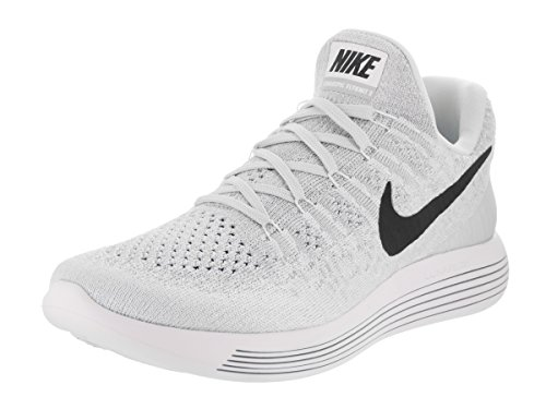Image of Nike Womens Lunarepic Low Flyknit 2 White/Black/Pure Platinum Running Shoe 8.5 Women US