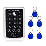 AMOCAM Door Access Control System, 125KHz RFID EM ID Stand-Alone Password Keypad + 5PCS RFID Key Fobs Keychains for Entry Home Security Access Controller