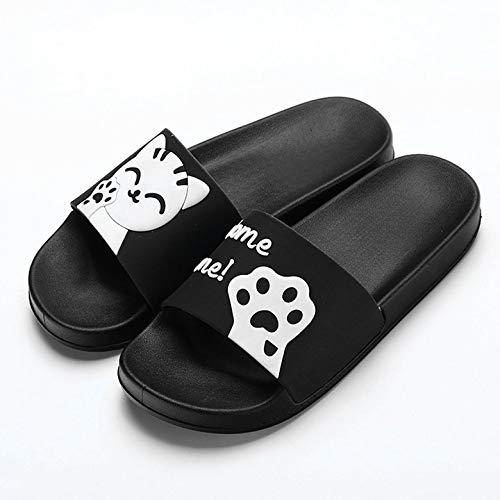 Domestico Pantofole Harlls Morbida Bagno Uomo Suola Interno Uso Pantofole 38 Antiscivolo Cute Pantaloncini Con Estivi Black Cat Donna Per raqrfwd