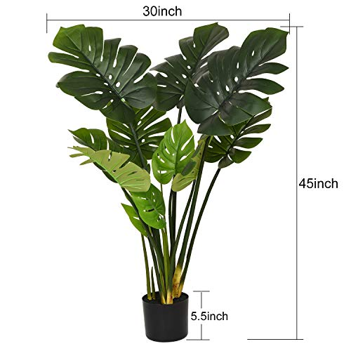 """Woooow 2Pack Artificial Monstera Deliciosa Plant 43"""" Fake Tropical Palm Tree, Perfect Faux Swiss Cheese Plant for Home Garden Office Store Decoration 4"""