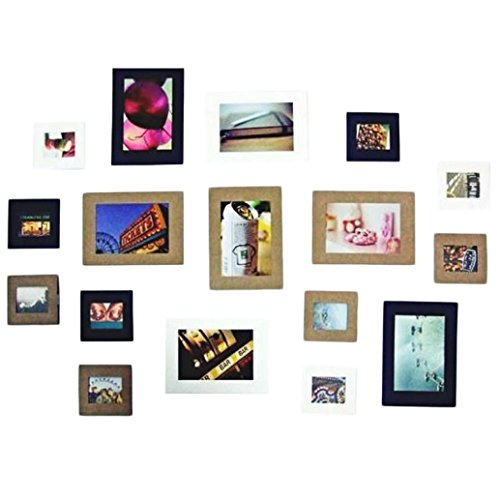 WONOUS Photo Frame, 10Pcs 3 Inch Cute DIY Paper Photo Frame Wall Picture Album Hanging Rope