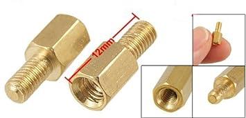 YXQ 100Pcs M3x5mm Male Brass Spacer Standoff Hexagonal Screw M3 Male to Female,10mm Length