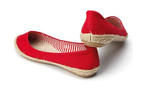 Chfso Mujeres Loafers Tela Tejida De Corte Bajo Bombas Zapatos Boat Flats Rojo