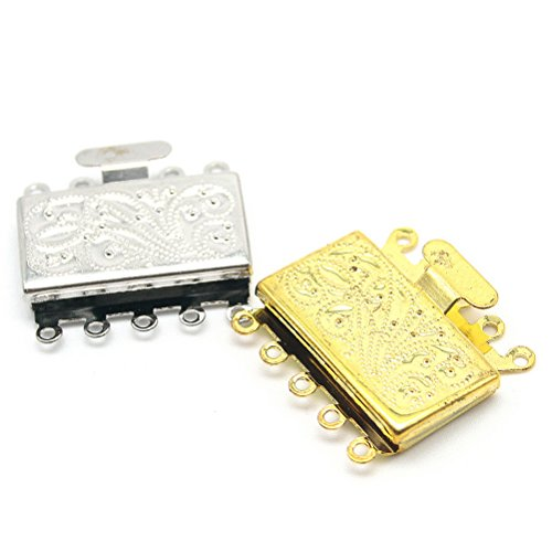 Beautiful Bead Square 5 Strand Box Clasps for Jewelry Making Gold/Silver 2pcs ()
