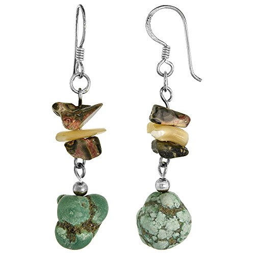 Sterling Silver Leopard - Sterling Silver Dangle Earrings Natural Turquoise and Leopard Skin Stones, 1 15/16 inch long