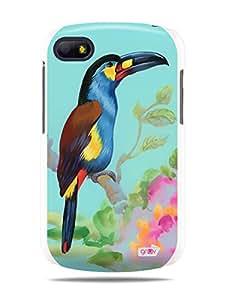 GRÜV Premium Case - 'Toucan Tropical Bird Flowers Watercolors' Design - Best Quality Designer Print on White Hard Cover - for Blackberry Q10