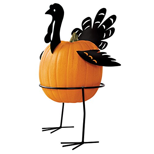 Collections Etc. Metal Turkey Pumpkin Holder, Pumpkin Stand with Base - 5 Pcs (Small Porch Decorating Ideas On A Budget)
