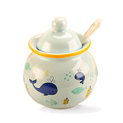DoDola Ceramic Sugar Bowl with Lid and Spoon Whale -
