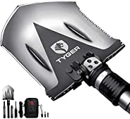 Tyger Auto TG-SV8U3217 Black 1 Tyger Shovel TG-SV8U3217 Military Heavy-Duty Folding Compact Tool with 16-in-1