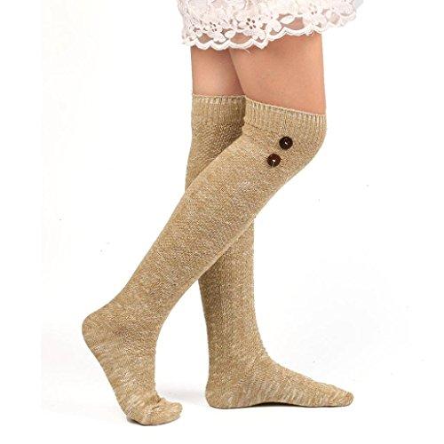 TAORE Cotton Over-Knee High Socks Long Wool Knitted Socks Leg Warmers (Khaki)
