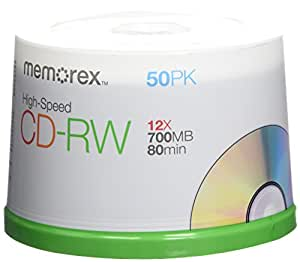 Memorex CD Rewritable Media - CD-RW - 12x - 700 MB - 50 Pack Spindle 03433