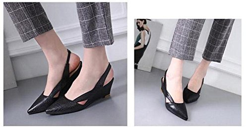 Pointed Shoes Toe Embossed Large Pump 43 Sandals GLTER Elastic Wedge Size Summer 40 Slingback Black WOMEN New 1ZqO5