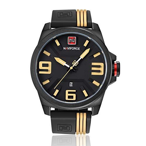 Liobaba Quartz Watches for Men,9098 Men 3ATM Waterproof Wrist Watch Rubber Wristband Sports Watch Calendar Quartz Movement Needle Watches