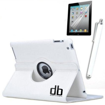 Bravolink For iPad 3/2 360° Rotating Magnetic PU Leather Case Smart Slim Cover Case (white)