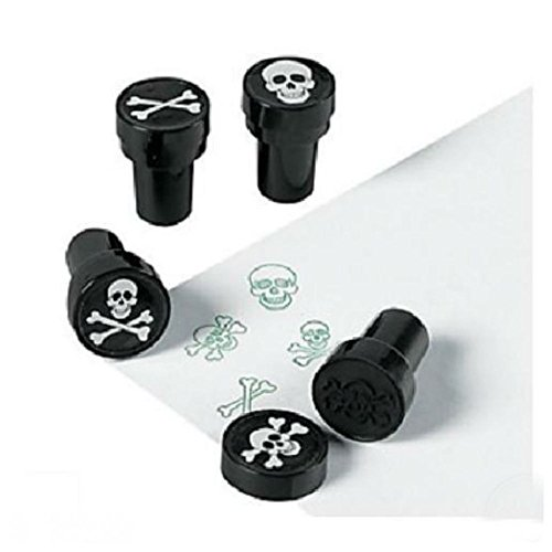 12 Pirate Halloween Party Favors Skull Crossbones Jolly Roger Stampers Stamps Party Highlights