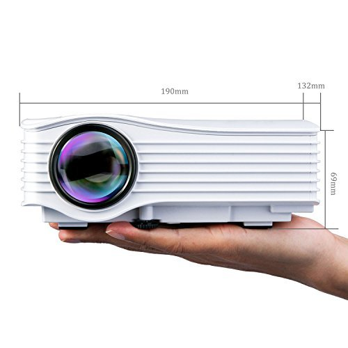 DeepLee DP36W LED LCD Mini Projector, Home Theater Video Projector with AV USB SD Card HDMI for Home Cinema Video Game Courtyard Movie Night Support PC Laptop PS3/PS4 Xbox Wii Projector - White