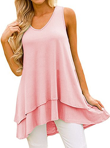 Kuraki Women's Sleeveless V Neck Cotton Blend Shirt Tunic Tank 3XL Pink (Layer Double Tunic)