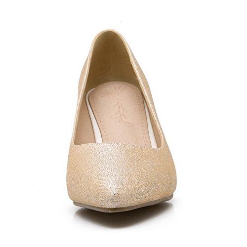 Balamasa Ladies Fashion Cone-shape Heel-toe Con Punta De Cuero Imitado Bombas-zapatos De Oro
