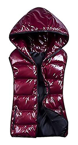 US&R Women's Windbreaker Waterproof Puffer Vest Sleeveless Full Zip Jacket, Maroon XXX-Large