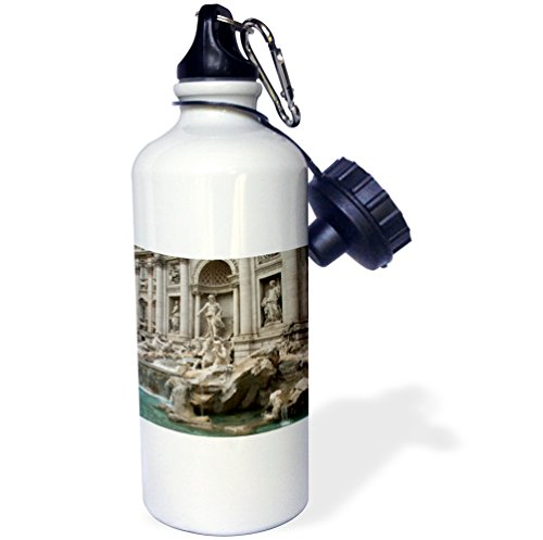 3dRose wb_47792_1 ''Trevi Fountain in Rome, Italy-Places to Travel'' Sports Water Bottle, 21 oz, White by 3dRose