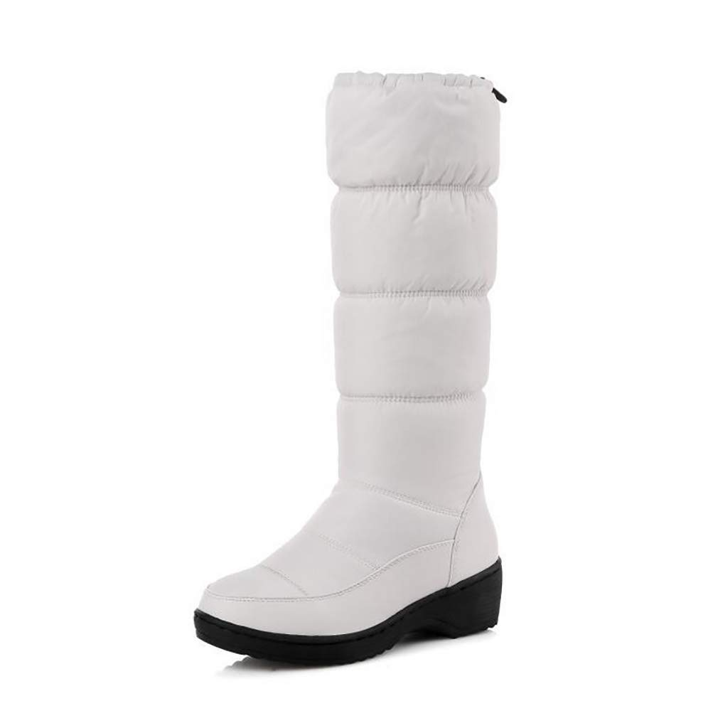 Hy Damen Schneestiefel Stiefel Frühling/Herbst Komfort Komfort Flache Schuhe/Damen Warm Winddicht Hohe Stiefel Weiß, Schwarz, Blau (Farbe : Weiß, Größe : 38)