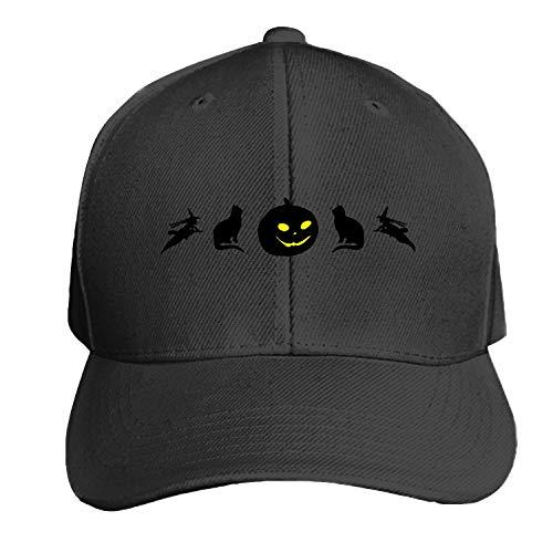 Halloween Silhouettes Pumpkin Jack O Lantern Cat Men's Structured Twill Cap Adjustable Peaked Sandwich Hat ()