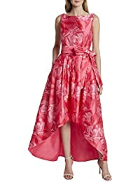 Women's Sleeveless Mikado Bow Waist High Low Dress