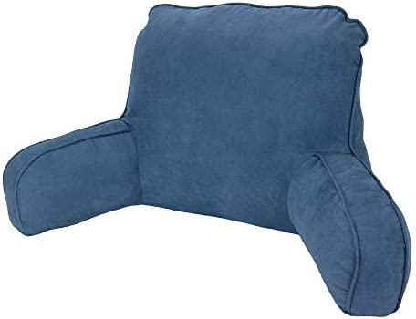 Navy Blue Faux Suede Backrest Pillow Back Support for Reading Sitting Up in Bed