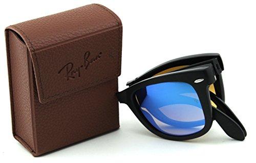 Ray-Ban RB4105 60694O Wayfarer Folding Black Frame / Mirror Gradient Blue Lens ()