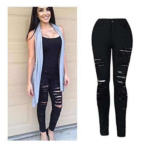 Kehen Women Skinny Denim Sexy Hole Jeans Flare Tron Boyfriend Stylish Elastic Jean Joggers Pants Slim Pencil Trousers Black Small for $<!--$5.79-->