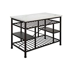 Kitchen ACME Furniture Lanzo Kitchen Island, Marble and Gunmetal modern kitchen islands and carts