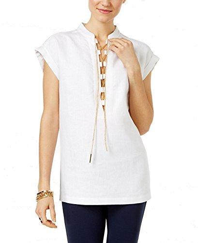 - Michael Michael Kors Women's Linen Lace-Up Top (White, X-Large)